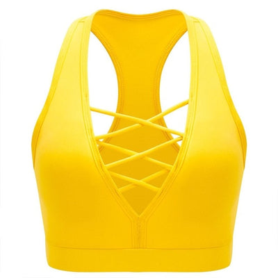 yellow-Women's Quick-Dry Gym Crop Top For Running
