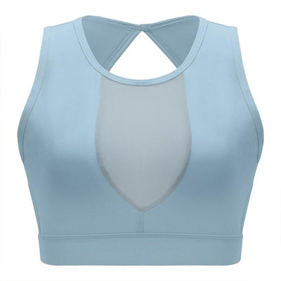 blue-Women's Quick-Dry Gym Crop Top For Running