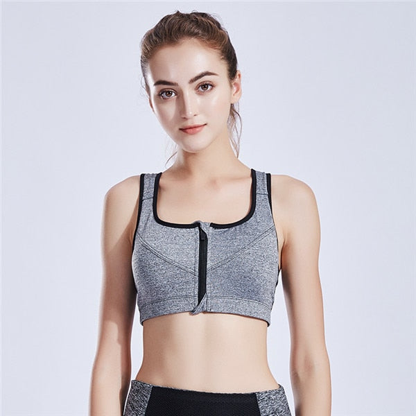 Women's  workout sports bra that's zip in front