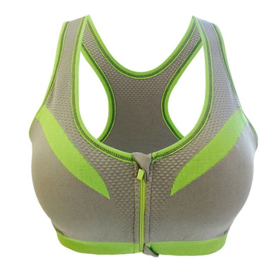 gray-sports bra shock absorber WITH front closure