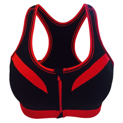 black-sports bra shock absorber WITH front closure