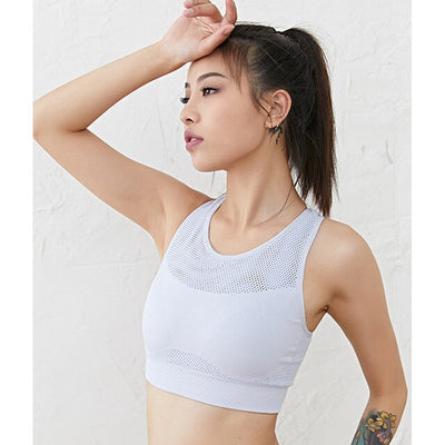 White-Women's breathable high neck sports bra for Running