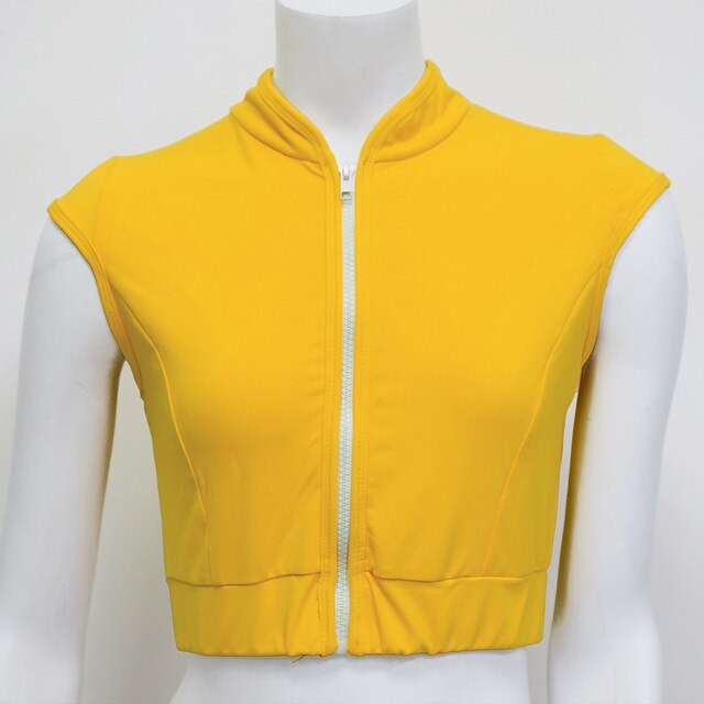 Yellow-High neck sports bra high impact shock absorber for running