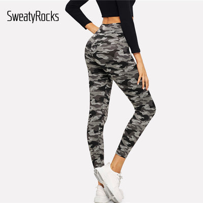 Skinny Army green workout Camouflage Leggings