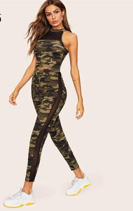 Two Piece Skinny Crop T Shirt Army Green Women camouflage workout set