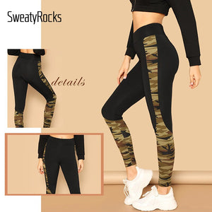 Women's High Waisted Army green Workout Camouflage Leggings