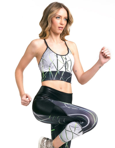 PRINTED CONTRAST SPORTS BRA