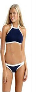 black white-Women's High Neck Padded Bandage Bra Swimwear