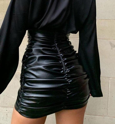 Black Ruched PU Leather Women's High Waist Bodycon Streetwear Skirt