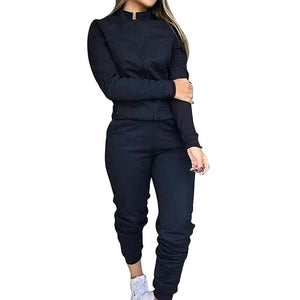 Black-Long Sleeve fashion joggers women's jogging bottoms pants outfit sweatshirts