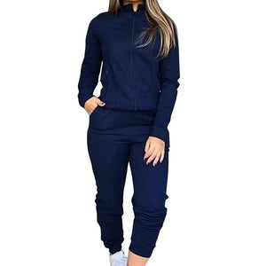 Dark blue-Long Sleeve fashion joggers women's jogging bottoms pants outfit sweatshirts