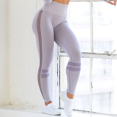 Purple-Seamless  High Waist Hollow Sexy  Push Up Yoga Pants for Women