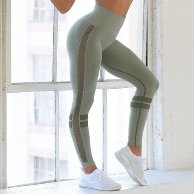 Green-Seamless  High Waist Hollow Sexy  Push Up Yoga Pants for Women