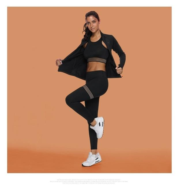 Women Gym Crop Top Bra+Seamless Legging+Long Sleeve Coat 3 Pieces Sports Suits