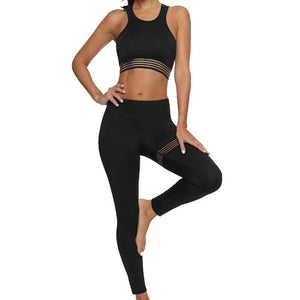 women's workout black yoga top & high waist legging