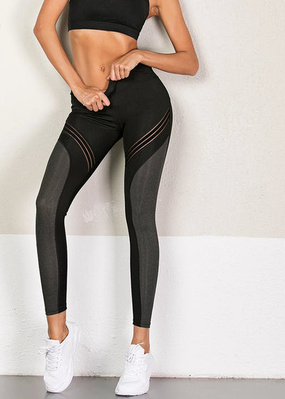 Elegant black high waisted women's workout leggings