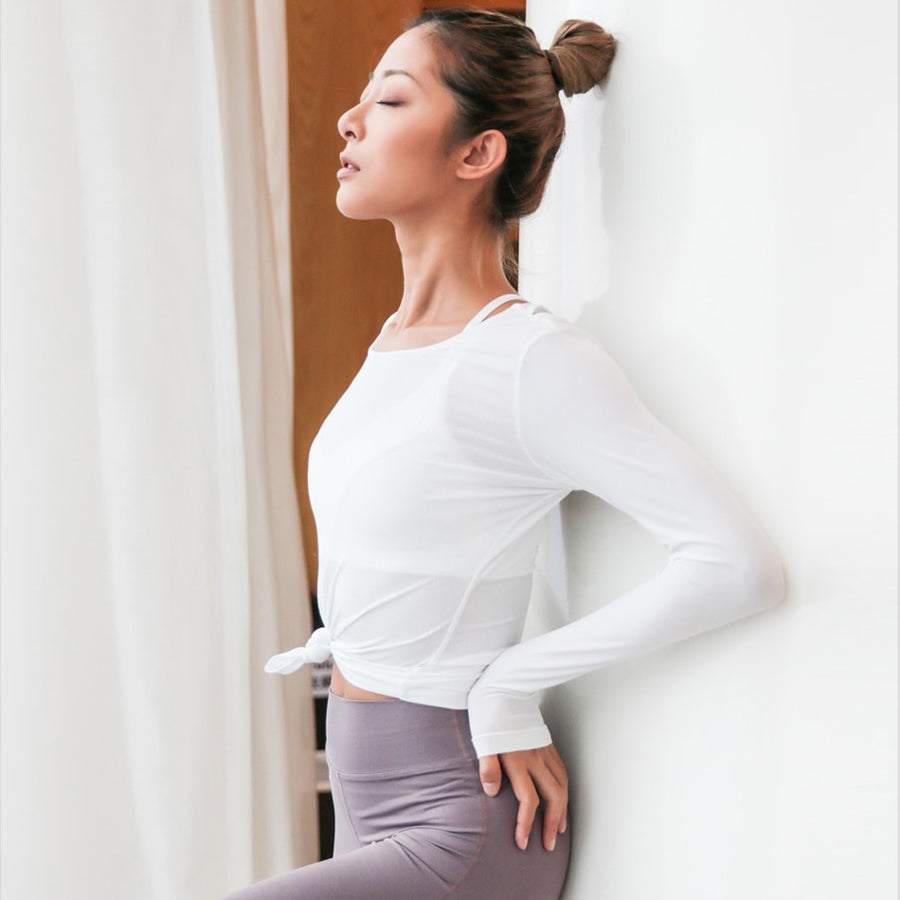 White Backless Workout Tops for Women