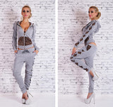 gray-Women cropped zip up hoodie Piece Set Crop Top+Pant