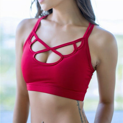 Red-Women's sports bra for running with thin straps