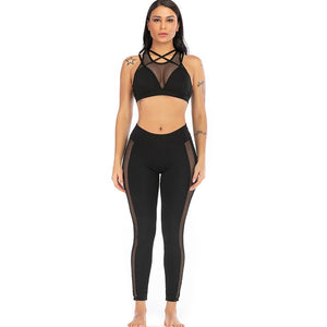women's black yoga top + leggings workout suit
