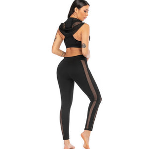 women's yoga top + leggings black workout set