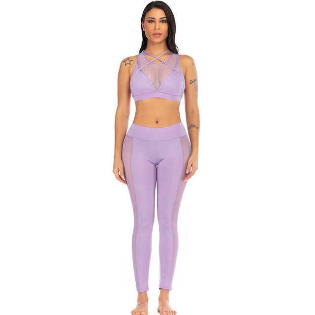 women workout violet athleisure suit