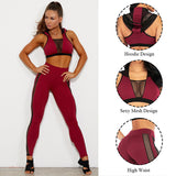 Women's yoga red workout high waisted suit