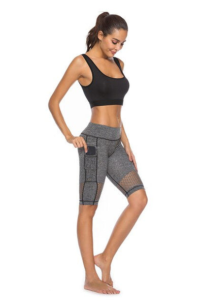 Dark gre-women's Running short with phone pocket High waisted