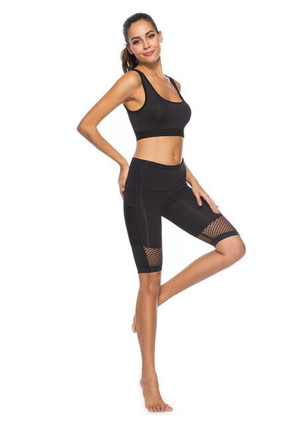 Black-women's Running short with phone pocket High waisted