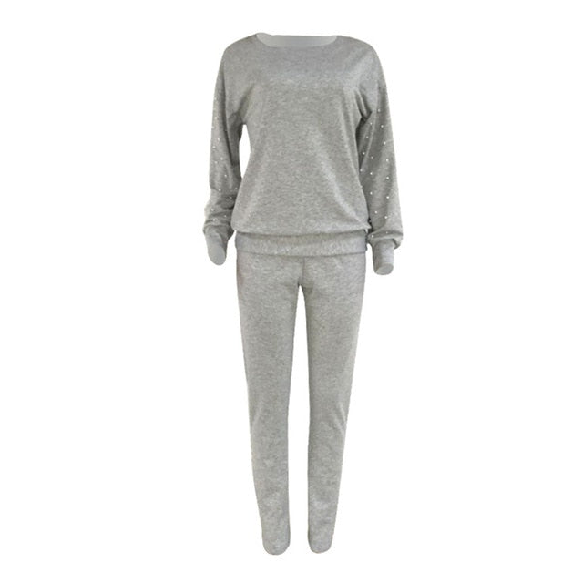 Gray-Women's Long sleeve pearl beading sweatshirt + jogging pans set