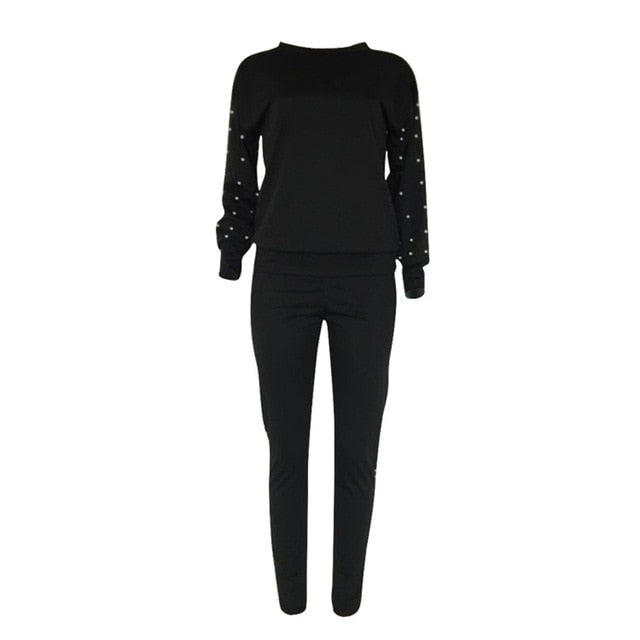 Black-Women's Long sleeve pearl beading sweatshirt + jogging pans set
