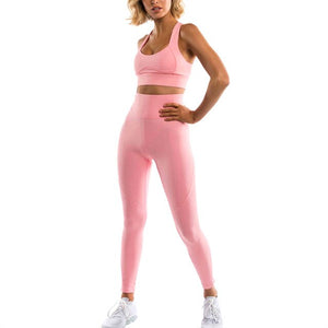 Solid Sleeveless High Waist Clothing Women Tops with Pants Yoga Suit