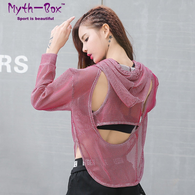 Women Loose Crop Running Hoodies Pullover Backless Hollow Training Tee Tops