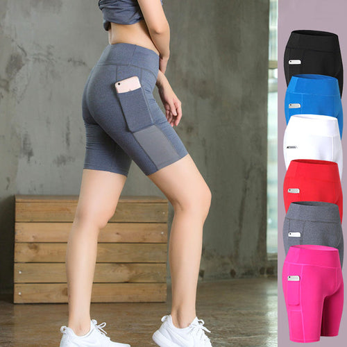 Women Yoga Shorts Mesh Patchwork Skinny Sport
