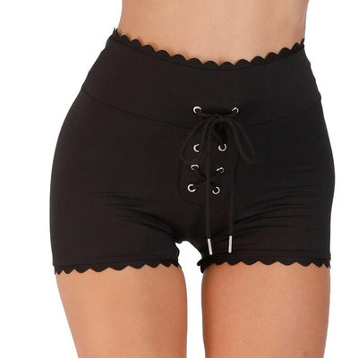 Black Lacy Sexy Bottom High Waist Sport Fitness Quick Dry Short