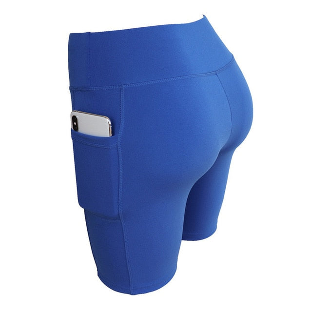 Sexy Pocket Spandex Fitness Running Compression High Waist Short