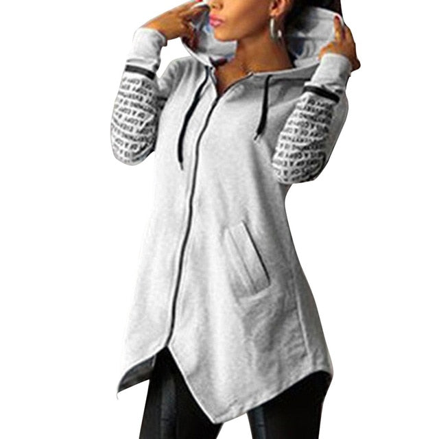 Grey-Women's printed hooded sweatshirt with front zipper