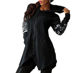 Black-Women's printed hooded sweatshirt with front zipper