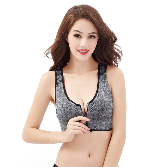 Gray-Padded Wirefree Shock absorber sports bra front zip