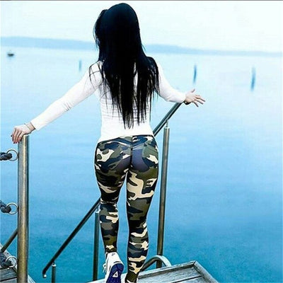 High Waisted Women Army green camouflage yoga pants