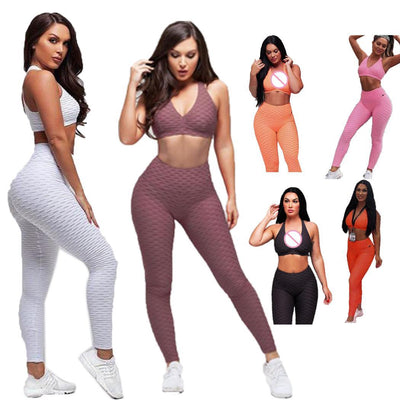 Crop Tank Workout Deep V Neck Top And Legging Pants Women's Fitness Suits