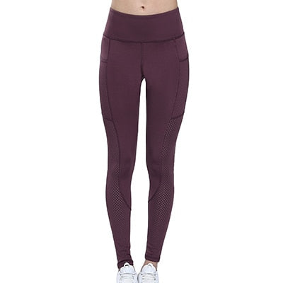 Women's Stretch High Waist Reflective Running Yoga Pants With Pockets
