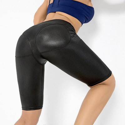 Ladies Leggings Seamless Yoga Leather Short Pants