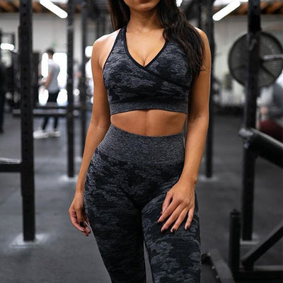 New Women Camouflage Seamless Fitness Set