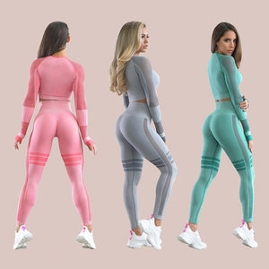 2 Piece Yoga Women Workout Clothing Leggings breathable Set