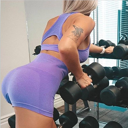 High waist seamless scrunch butt yoga shorts