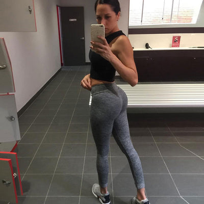 Fashion Push Up Women Workout Slim Polyester V-Waist Leggings