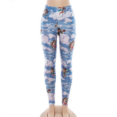 Women Angel Print Push Up High Waist Sport Workout Leggings