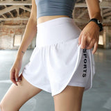 2 in 1 Womens High waist Quick Dry Training Exercise Joggers Shorts
