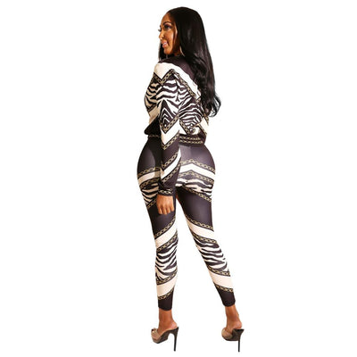 Long Sleeve Two Pieces Capris Suit Fashion Tracksuit